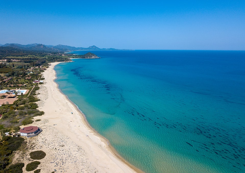 Costa Rei beaches, white sand and crystal-clear sea for miles of coastline